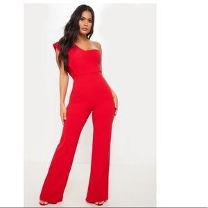 Red Drape One Shoulder Jumpsuit